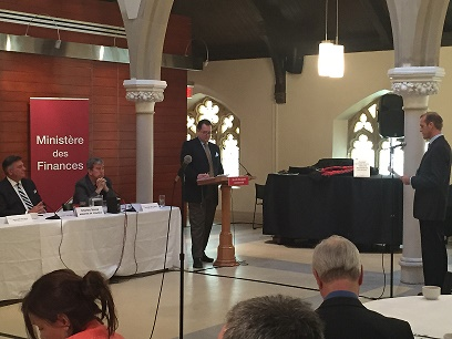Michael Eygenraam delivering statement at Pre-Budget Consultation